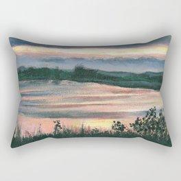 Summer Sunset at Baker Wetlands Painting Rectangular Pillow