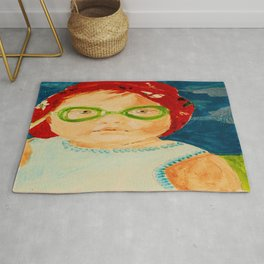 Maddie with Goggles, a painting by Karen Chapman Rug