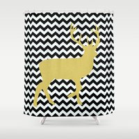 decal Shower Curtains featuring Golden Deer in black and white chevron by haroulita