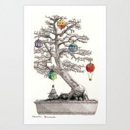 Festive Bonsai Tree Art Print