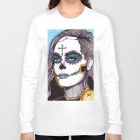 dia de los muertos Long Sleeve T-shirts featuring Dia de los Muertos by Joseph Walrave