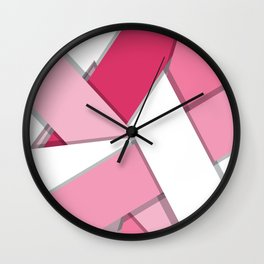 Flat Abstract Modern Design Vector Pattern breast cancer awareness  Wall Clock