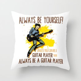 Guitar Electric Acoustic Guitarist Gift Throw Pillow