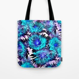 Turquoise Purple Abstract Flowers Tote Bag