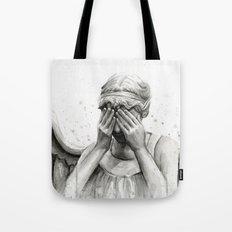 Weeping Angel Watercolor Painting Tote Bag