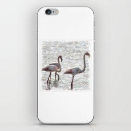 Three Flamingos Watercolor iPhone Skin