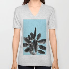 Black Light Blue Cactus #1 #plant #decor #art #society6 Unisex V-Neck