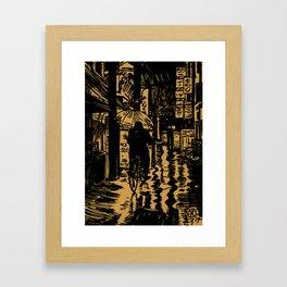 Tokyo Night Alley Ride Framed Art Print