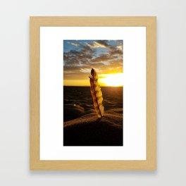 Golden Hour Feather Framed Art Print