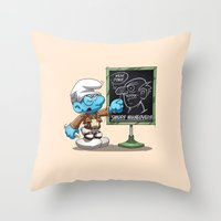 attack on titan Throw Pillows featuring Attack on Titan Smurf Edition by Purrdemonium
