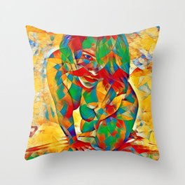 3334s-SRC Abstract Woman with Blue Eyes Rendered in Color and Style Throw Pillow