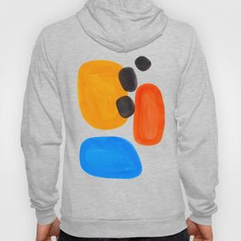 Abstract Mid Century Modern Colorful Minimal Pop Art Yellow Orange Blue Bubbles Ovals Hoody
