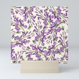 Boho forest green lavender lilac wisteria floral pattern Mini Art Print