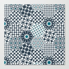 Spanish Tiles of the Alhambra - Gray & dark Aquamarine Canvas Print
