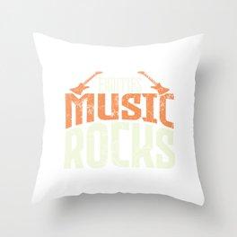 Eighties Must Rocks Musician Strum Guitar Player T-shirt Design Chord Music Band Artist Guitarist Throw Pillow