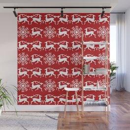Christmas Deer and Snowflakes Wall Mural