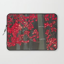 Bamboo and Fall Red leaves of Kyoto maple trees Laptop Sleeve