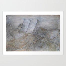 Reading book Art Print