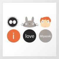 miyazaki Art Prints featuring I Love Miyazaki by Etiquette