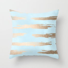 Abstract Paint Stripes Gold Tropical Ocean Sea Turquoise Throw Pillow