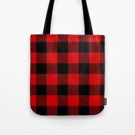 Red Lumberjack Pattern Tote Bag
