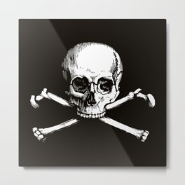 Skull and Crossbones | Jolly Roger | Pirate Flag | Black and White | Metal Print