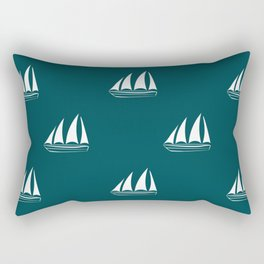 White Sailboat Pattern on teal blue background Rectangular Pillow