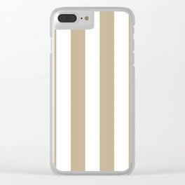 Vertical Stripes - White and Khaki Brown Clear iPhone Case