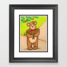 FLOWERS FOR YOU - Adorable Little Teddy Bear Flowers Floral Cute Colorful Original Illustration Framed Art Print