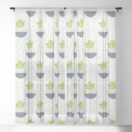 Potted Kalanchoe Plant Mom Pattern Sheer Curtain