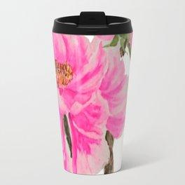 two pink peonies watercolor Travel Mug