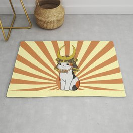 Japanese Bobtail Cat Wears Samurai Hat Rug