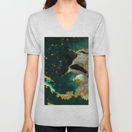 Abstract Pour Painting Liquid Marble Abstract Dark Green Painting Gold Accent Agate Stone Layers Unisex V-Neck