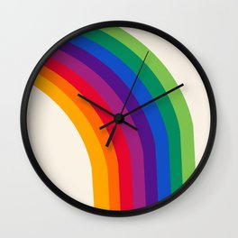 Groovy - rainbow 70s 1970s style retro throwback minimal happy hippie art decor Wall Clock