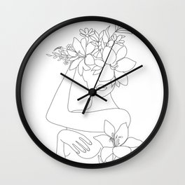 Minimal Line Art Woman with Flowers VI Wall Clock