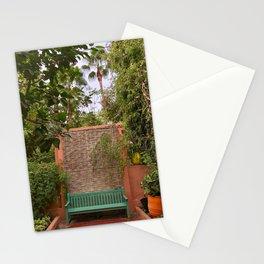 Green Bench, Jardin Majorelle, Marrakesh, Morocco Stationery Cards