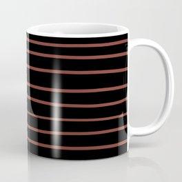 Pantone Burnt Henna Red 19-1540 Hand Drawn Horizontal Lines on Black Coffee Mug