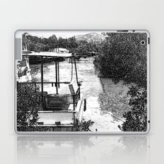 Boats and river in black and white Laptop & iPad Skin