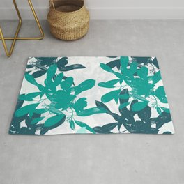 Tropical Turquoise Leaves Rug