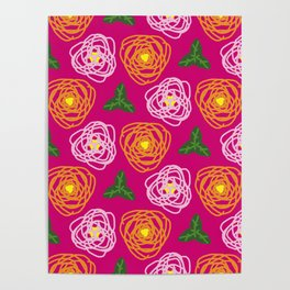 Bright pink floral Poster