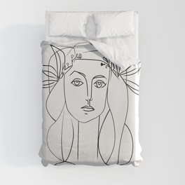 Picasso lady  Modern Sketch Picasso Art Modern Minimalist Duvet Cover
