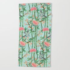 Bamboo, Birds and Blossom - soft blue green Beach Towel