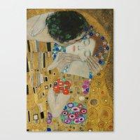 gustav klimt Canvas Prints featuring Gustav Klimt - The Kiss (detail) by TilenHrovatic