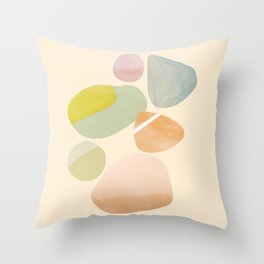Abstraction_PEBBLES_STONE_BEACH_COLOR_POP_ART_M0217A Throw Pillow