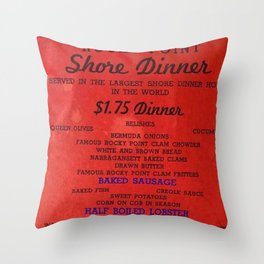 1906 Rocky Point Amusement Park Shore Dinner Hall New England Claim Bake Menu, Warwick, Rhode Island Throw Pillow