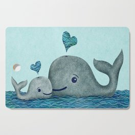 Whale Mom and Baby with Hearts in Gray and Turquoise Cutting Board