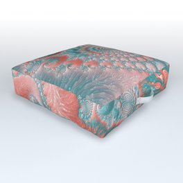 Abstract Living Coral Reef Nautilus Pastel Teal Blue Orange Spiral Swirl Pattern Fractal Fine Art Outdoor Floor Cushion