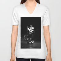 portland V-neck T-shirts featuring Portland BW by DarkMikeRys