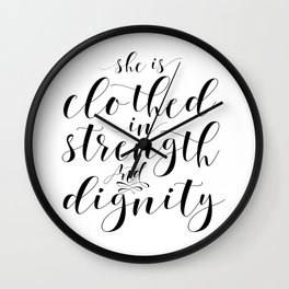 NURSERY ROOM DECOR, Nursery Girls, She Is Clothed In Strength And Dignity, Bible Verse,Scripture Art Wall Clock