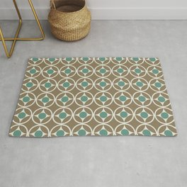 Mid Century Modern Retro Geometric Shapes Circle Pattern Jade Green Tobacco Brown Rug